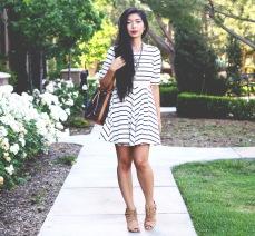 Stephanie Liu Wearing Lulus Striped Dress Uno de 50 necklace Amrita Singh Flower Necklace Shoemint Elizabeth Louis Vuitton Noe 3
